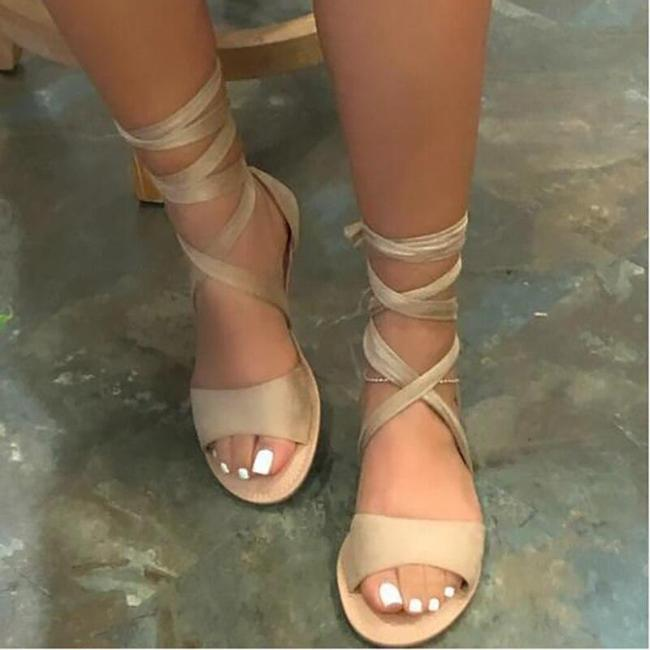 2020 Summer New Female Flat Sandals High-quality Fashion Roman Style Cross Strap Open-toed Plus Size  Women's Sandals