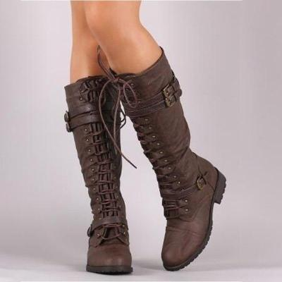 Mid Calf Boots Autumn Winter Lace Up Vintage Flat Shoes Sexy Steampunk Leather Retro Buckle Ladies Snow Boots