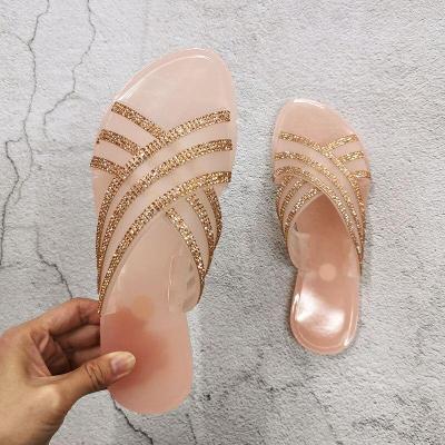 Slippers Fashion Slippers Women Platform Summer Slides Outdoor Rhinestones Flat Ladies Shoes