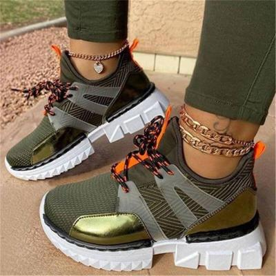 Women's Casual Sneakers Fashion Ladies Mixed Color Flat Platform Autumn Shoes Woman Lace Up Sneakers