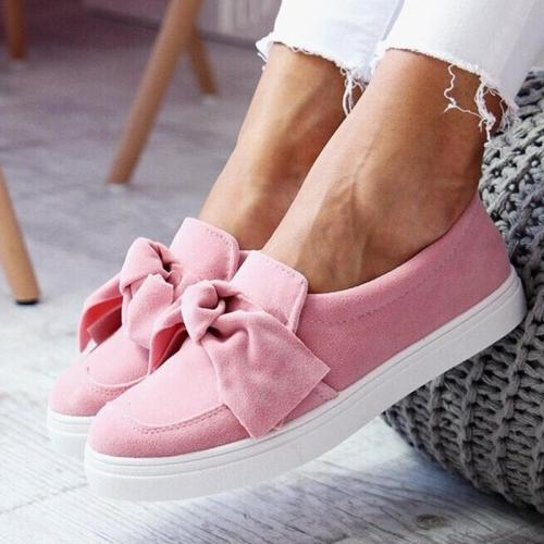 Women Fashion Canvas Bowknot Slip On Flat Heel Shoes