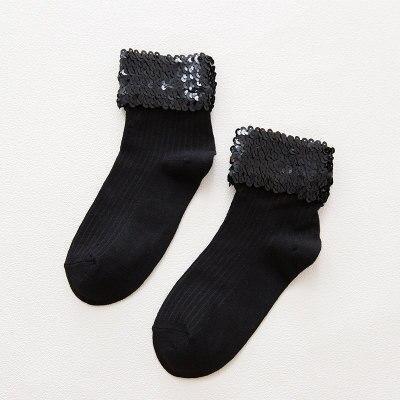 Chic Streetwear Women's Handmade Bling Sequins Socks Casual Female Grey Solid Color Short Socks Ladies Silver Sequin Sox