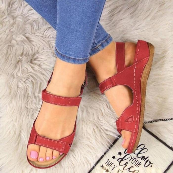 Sandals Soft Three Color Stitching Ladies Sandals Comfortable Flat Sandals Open Toe Beach Shoes Woman