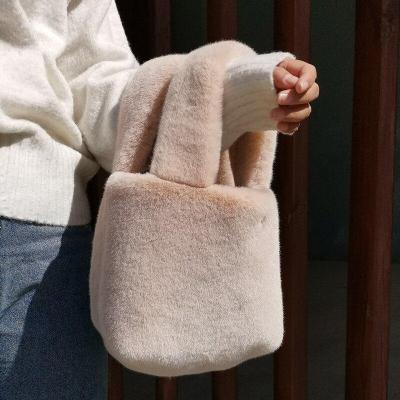 Faux Fur Shoulder Bags for Women Winter Warm Crossbody Messenger Bag Female Travel Solid Color Handbags