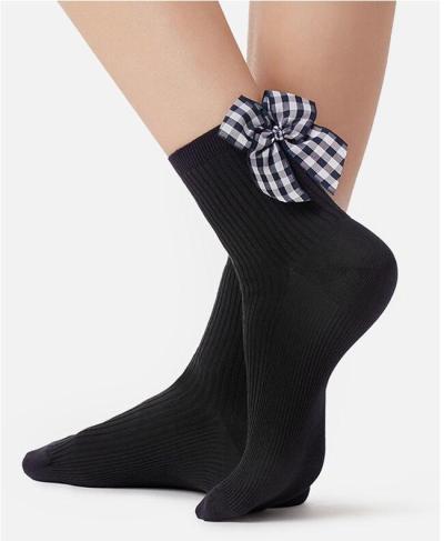 Chic Streetwear Women's Black Color Dots Bow Socks Casual Female Polka Dot Short Socks Cute Ladies Plaid Bow knot Sox