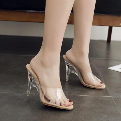 Style Summer Women Crystal High Heels Mules Shales Slides Peep Toe Transparent Heels Slippers Sexy Fashion