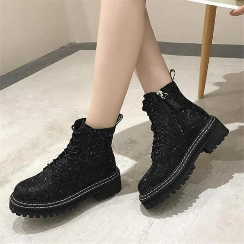 Punk Gothic Style Lace Up Platform Ankle Boots Bling Rhinestone Women Booties Campus Sweet Student Shoes