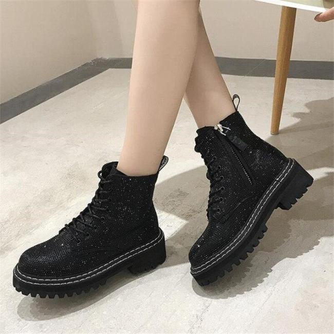 Lace Up Platform Ankle Boots Bling Rhinestone Women Booties Campus Sweet Student Shoes