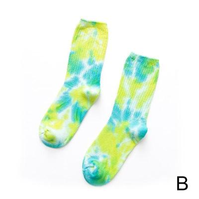 Street European Skateboard Thick Line Cotton Couple Pile Knee-high Tie-dye Cycling Funny Hiking Pile Socks Socks Dye Tie