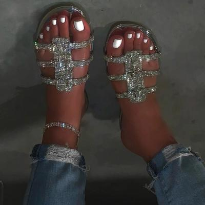Slip-On Flip Flop Flat With Rhinestone Casual Casual Slippers