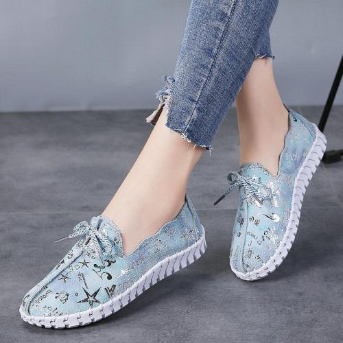 Summer New Leather Casual Loafers Slip on Shoes for Women Breathable Woman Flats Fashion