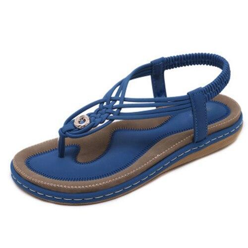 Bohemia Woman Sandals Female Flats Ladies Fashion Elastic Band Beach Shoes