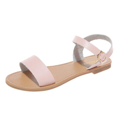 Women's Sandals Solid Color PU Leather Sandals Women Fashion Rome Style Summer Women Shoes Women Shoes