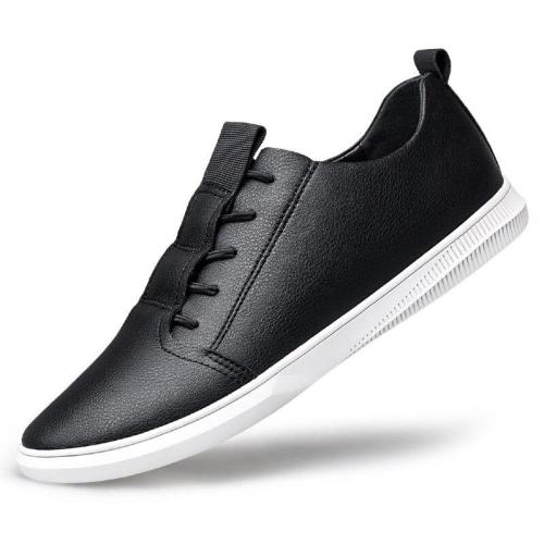 Man Shoes Leather Sneakers Men's Casual Shoe Fashion Black White Walking Footwear Claxneo Leisure Soft