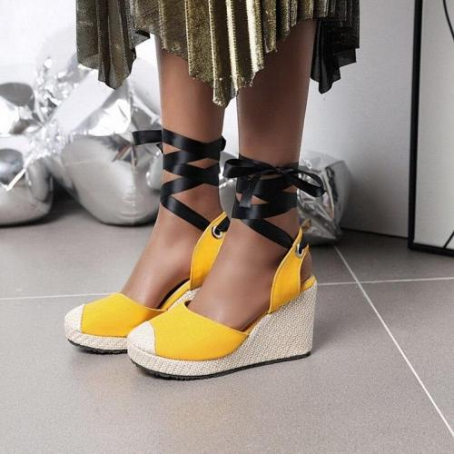 Sandals Wedge High Heel Women's Shoes Lace Up Shoes Sweet Style Women's Shoes Platform Sandals