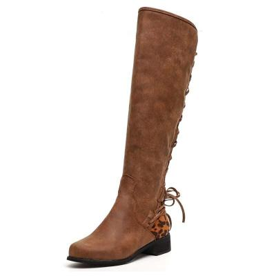 Knee High Boots Retro Rome Style Women Fashion Square Heel Woman Leather Shoes Winter PU Large Size