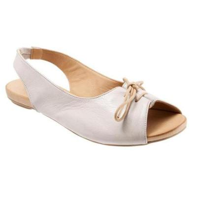 Women Large Size Lace Up Peep Toe Flat Sandals