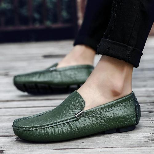 Men's Casual Shoes Luxury Leather Loafers Slip on Boat Shoes Plus Size