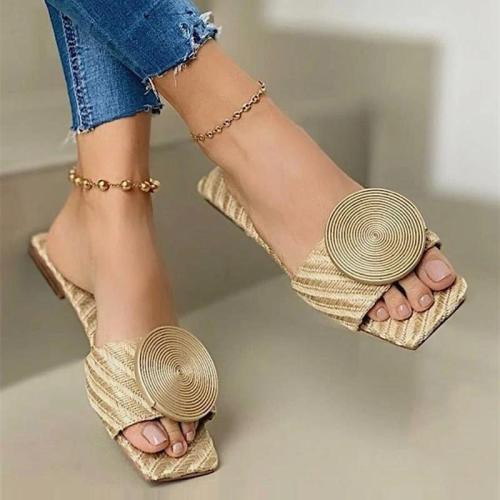 Woman Sandals Summer Flat New Round Buckle Flats Female Casual Solid Slippers Ladies Women Fashion Beach Plus Size Shoes