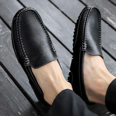 Genuine Leather Men Casual Shoes Men Loafers Breathable Slip on Black Driving Shoes