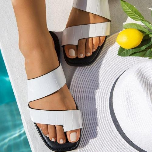 Women Slippers Summer Flats Slides Casual Shoes PU Leather Sandals