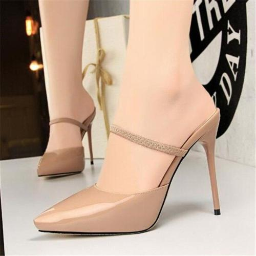 Elastic Band Concise Patent Leather Pointed Toe Fashion Platform High Heels Sexy Slippers