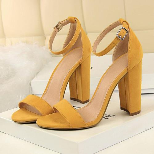 Summer Fashion Classic Woman High Heels Sandals Female Block Chunky Shoes