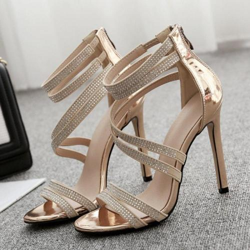 Women Summer 11cm High Heels Sandals Lady Glitter Crystal Gold Pumps Female Footwear Strap