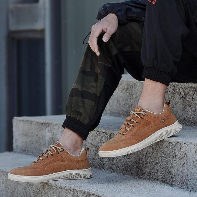 Mans Casual Leather Shoes Fashion Suede Leather Sneakers Male Shoe Men's Walking Footwear