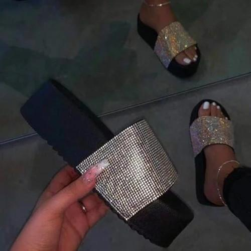 Holiday Rhinestone Artificial Leather Low Heel Slippers