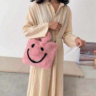 Luxury Woman's Fluffy Messenger Bag Cute Smile Fur Plush Handbag Lady Stylish Pink Shoulder Crossbody Bags Fluffy