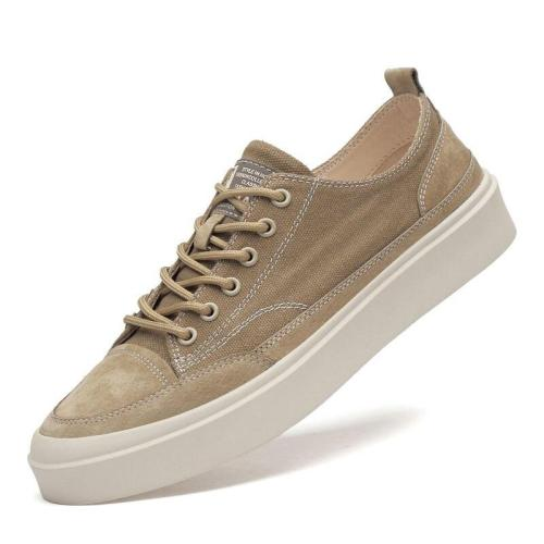 Man canvas shoes Men's Shoe Casual Footwear Khaki Fashion Male Sneakers Breathable British Style