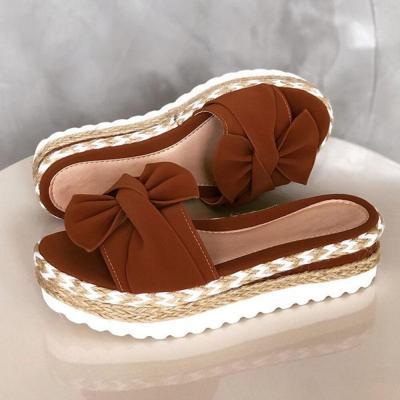 Women Flat Platform Slippers Open Toe Fashion Knots Braid Flat Heel Elevator Sandals Slip On Outside Slides