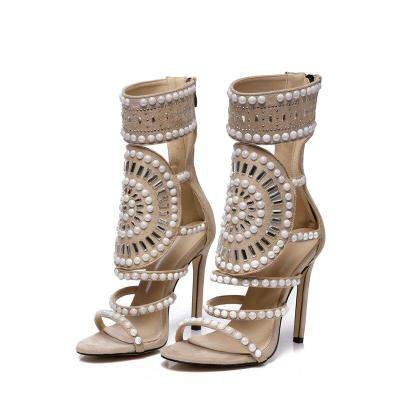 Summer Women High Heels Luxury Sandals Female Crystal Shoes Lady Pearl Sexy Pumps