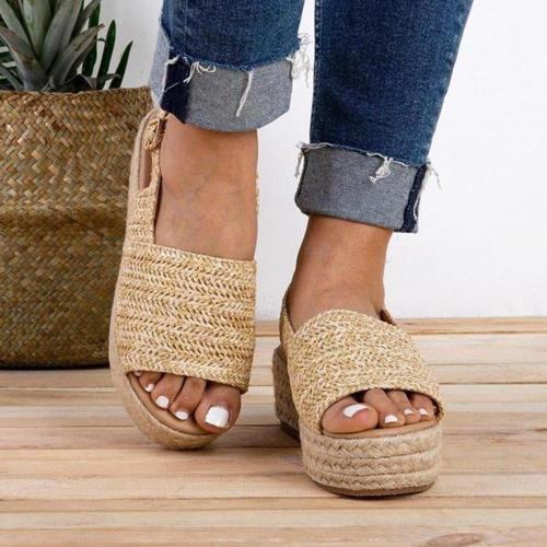 Women Sandals Retro Platform Sandals With High Heels Wedges Shoes For Women Hemp Summer Sandals
