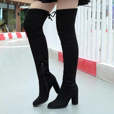 Block 9cm High Heels Fetish Over KneeTight High Boots Stripper Winter Women Chunky Suede Long