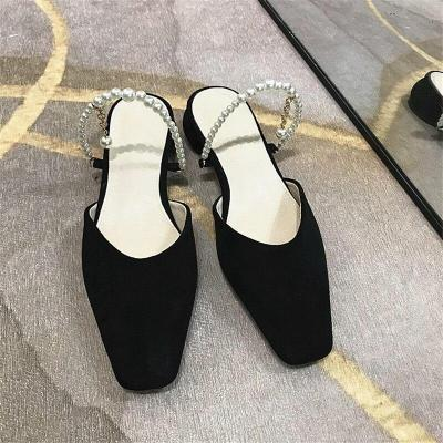 Fashion Baotou Slippers Microfiber Leather Pearl Sandals Women Sexy Slippers Comfortable Pumps Banquet Shoes