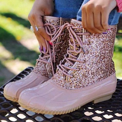 Women Ankle Boots Women's Sewing Woman Flats Female Shoe Rhinestone Ladies Casual Lace Up Footwear Plus Size