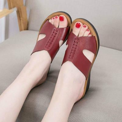 Fashion slides genuine leather slippers women shoes summer wedges outside ladies slippers