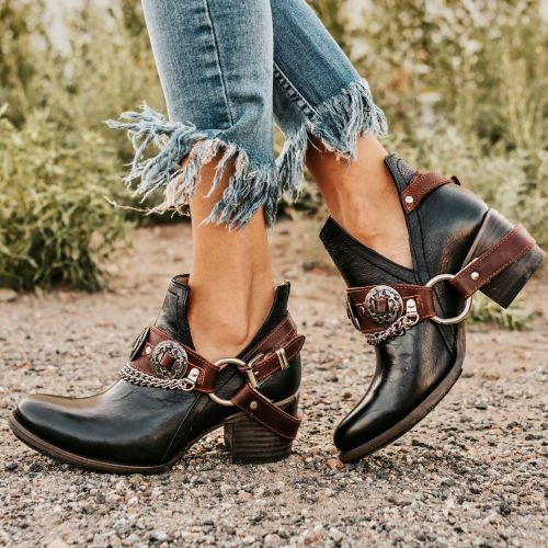 Women Ankle Boots Chunky Mid Heels Pumps Vintage PU Leather Gladiator Booties Shoes