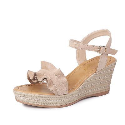 Women's Sandals Summer New Sandals Buckle Lace Slope High Heel