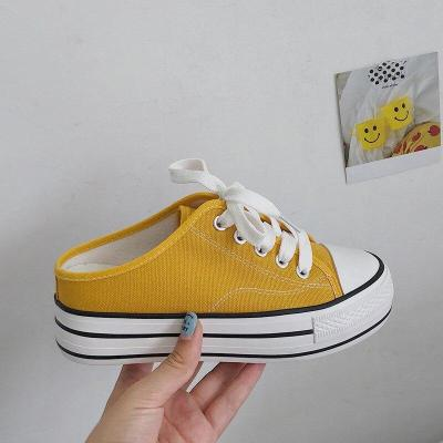 Woman Half Slipper Canvas Shoes Flat Sneakers Women Casual Comfortable Loafer