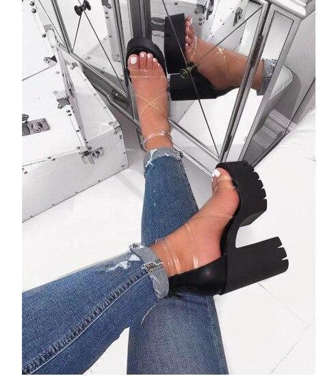 2020 Office Spring Lace Up High Heels Women Fashion High Heels Square Heels Platform Sandals Party Wedding Sandalias