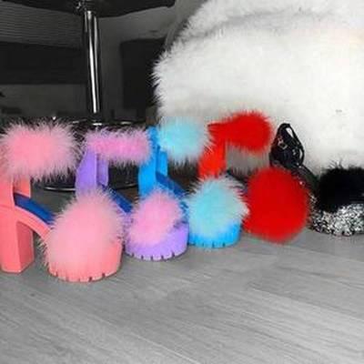 Women Summer Pumps High Heels Plus Size Faux Fur Platform Fashion Sexy Party Club Shoes Woman Female