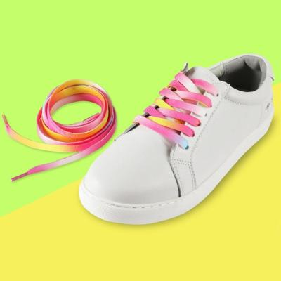 Gradient Rainbow Pink Flat Shoelace Sports Casual Shoes Laces Sneaker Boots Shoe Strings
