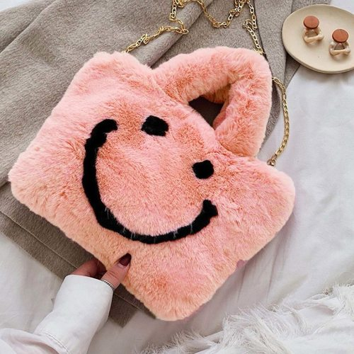 Luxury Woman's Fluffy Messenger Bag Cute Smile Fur Plush Handbag Lady Stylish Pink Shoulder Crossbody Bags Fluffy
