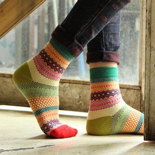 Multi-Color Fashion Unisex Stripe Cotton Socks Women Socks Green Black Orange Pink Yellow