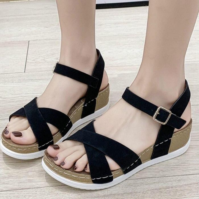 Summer Gladiator Women Sandals Leopard Wedges Chunky Heel Platform Buckle Strap Casual