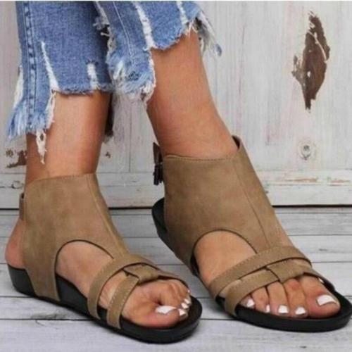 Summer Flock Sandals Women Back Strap Buckle Platform Wedges Heel Peep Toe Casual Summer Beach Ladies Shoes Zapatos De Mujer