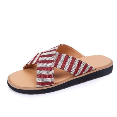 Women Slipper Striped Canvas Flat Heel Peep Toe Thick Soft Sole Simple Casuals Sandals Outdoor